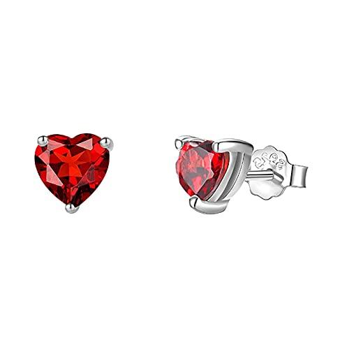 Vogem Pendientes en forma de corazón de plata 925 con circonita de cristal de 6 mm para mujeres y niñas, Circonita cúbica,