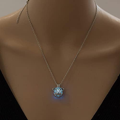 YQMR Collares Luminoso Colgante,Noche De Las Señoras Colgante Azul Brillante Moda Collar...