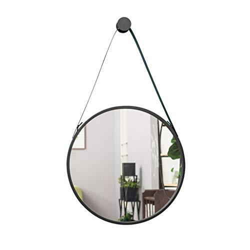 ZEQUAN An Der Wand Befestigter Runder Spiegel-schwarzer Schmiedeeisenwand-Spiegel for Hauptbadezimmer-Schlafzimmer-Wohnzimmer (Size : Diameter-50cm)