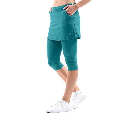 Sportkind Mädchen & Damen Tennis, Running, Yoga 2-in-1 Rock mit Leggings & Taschen, Petrol grün, Gr. M