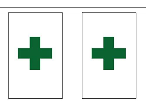 Santé et sécurité de croix verte pharmacie Polyester fanions 3 m (10 ') avec 10 fanions