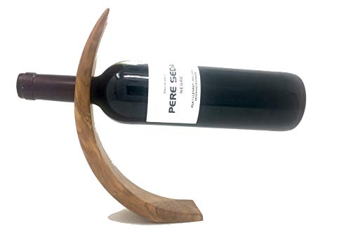 Portabotellas de vino hecho a mano, hecho de madera de olivo, exclusivo portador de vino curvo de Mallorca robusto único