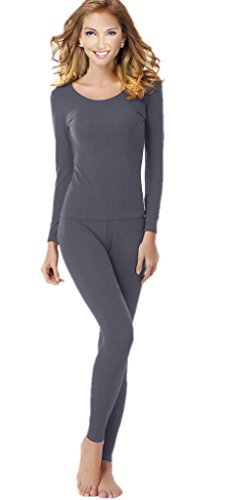 Women's Thermal Underwear Set Top & Bottom Fleece Lined, W1 Grey, X-Large