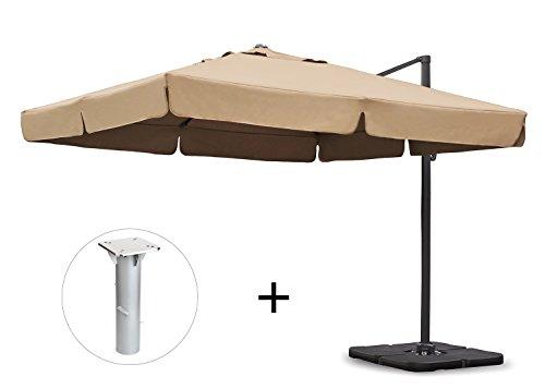 Sekey® Sonnenschirm 300 x 300 cm Aluminium-Sonnenschirm Marktschirm Gartenschirm Terrassenschirm Ampelschirm Kurbelschirm Beige/Taupe Quadratisch Sonnenschutz Mit Sonnenschirmständer UV50+ 23kg