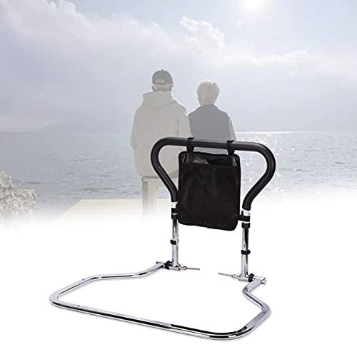 EFGSbed Carbon Steel Safety Bed Rail Mobility Aid, Elderly Aid Bed Guard Can Be Folded 90°, Four Height Adjustable, Bottom Flat Tube Design, More Stable Force