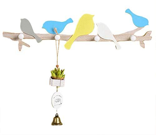 Kindergarderobe mit 4 Haken,Wandgarderobe Kleiderhaken, Garderobenhaken Kinderzimmer mit Kleiner Vogel, Wandhaken Kindermöbel (A)