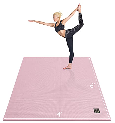 """Gxmmat Large Yoga Mat 72""""x 48""""(6'x4') x 7mm for Pilates Stretching Home Gym Workout, Extra Thick Non Slip Anti-Tear Exercise Mat, Use Without Shoes"""