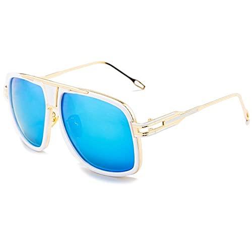 DLSM Vintage clásico Big Frame Gafas de Sol Hombres Plaza Metal Gafas de Sol Mujeres Retro UV400 Sombras Masculinas Gafas de Sol Pesca Ligera Deportes Outorielos-C2 Dorado Blanco Azul
