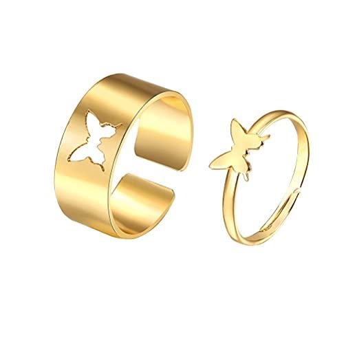 Gazaar Anillo de pareja para los amantes de la eternidad de la mariposa para las mujeres anillos de promesa para las mujeres anillo abierto ajustable regalos del día de San Valentín
