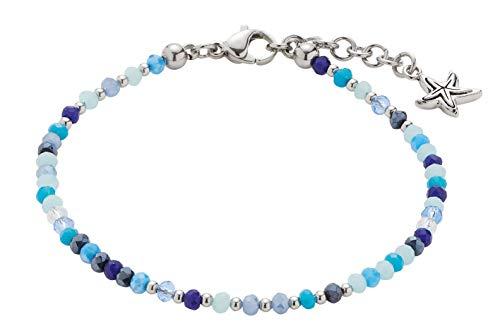 CIAO BY LEONARDO Damen-Armband Capri Mini's, Edelstahl mit blauen Schliff-Glasperlen und Anhänger, mit Karabinerverschluss, Länge 170 mm, 016921