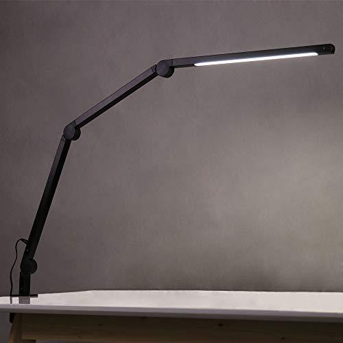 Eyocean LED Schreibtischlampe,Schwenkarm Architektenlampe Arbeitsleuchte,Berührungssteuerung Büro Tischlampe, Stufenloses Dimmen einstellbare Farbtemperaturen,Augenschutz,10W Klemmleuchte,Mattschwarz