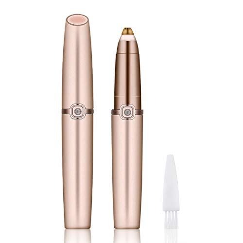 Charminer Eyebrow Hair Remover,Electric Painless Portable Eyebrow Hair Removal with Light,Epilator for Women Perfect Touch Razor for Lips Nose Ear Facial Hair Remove Rose Gold (Batteries not Included)