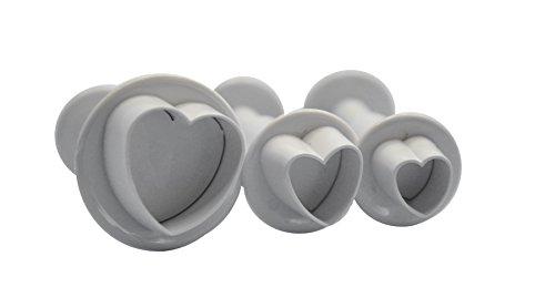 DeColorDulce Coeurs Grandes Set emporte-pièces avec éjecteur, Blanc, 28 x 10 x 5 cm, Lot de 3