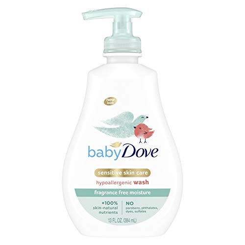 Baby Dove Sensitive Skin Care Baby Wash For Baby Bath Time Fragrance Free Moisture Fragrance Free and Hypoallergenic, Washes Away Bacteria 13 oz