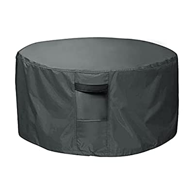 Orqihod Outdoor Fire Pit Cover Waterproof 600D Heavy Duty Garden Fire Bowl Cover with 2 Buckles, Air Vents, Round Patio Brazier Covers Windproof, Grey(91 x 50cm) by Orqihod