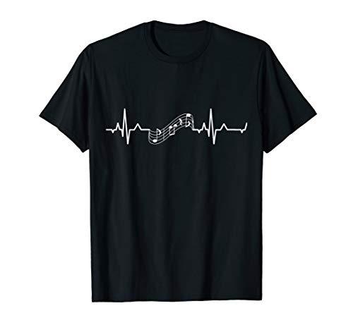 Music Staff Heartbeat T-Shirt Heartbeat to Music Notes White T-Shirt