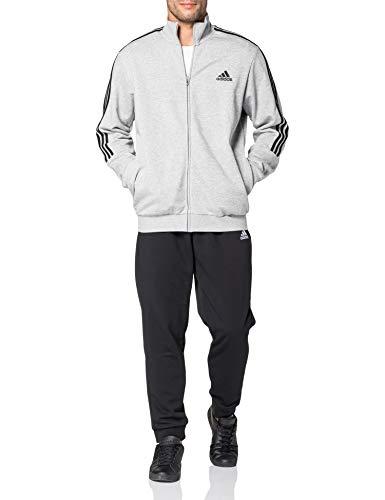 adidas Herren Essentials 3-Streifen Trainingsanzug, Top:Medium Grey Heather/Black Bottom:Black/White, 7