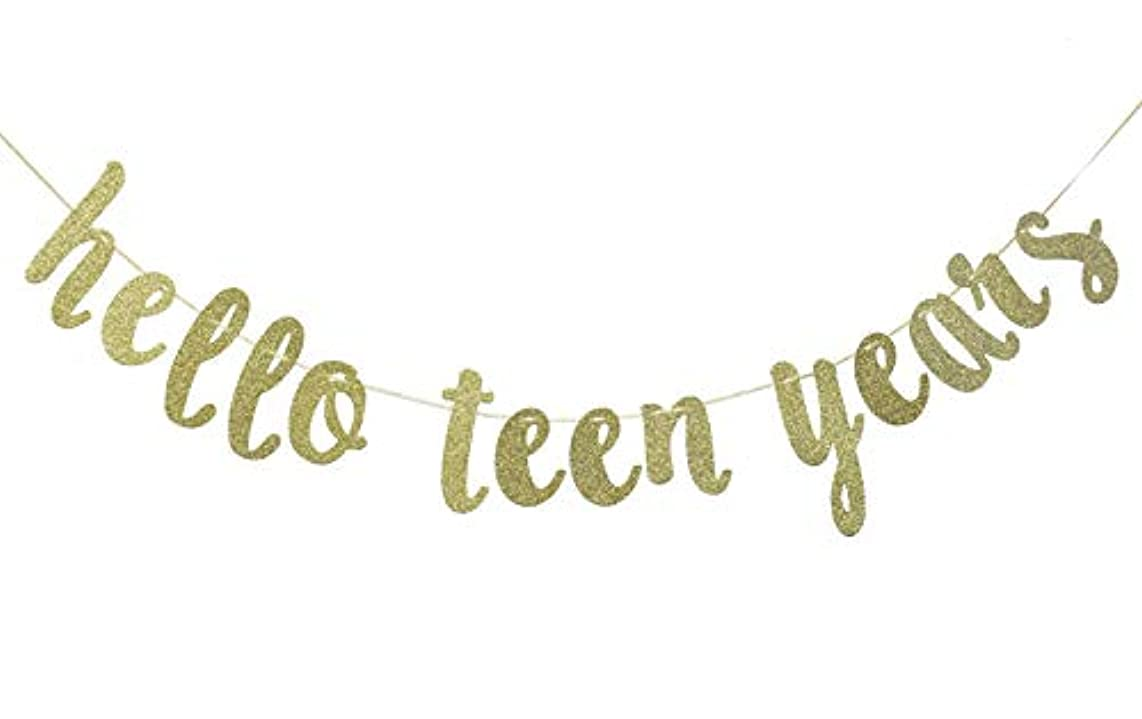 Hello Teen Years Glitter Gold Banner, Happy 13th Birthday Decor (Gold)