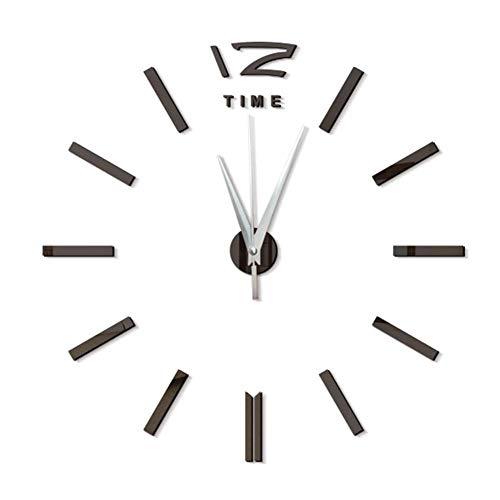 Funcylande DIY Reloj De Pared Sin Marco Espejo Grande 3D Sticker, 3D Relojes De Pared Espejo Pegatina DIY Frameless Gran Reloj De Pared Números Romanos para Decorar La Oficina Casa