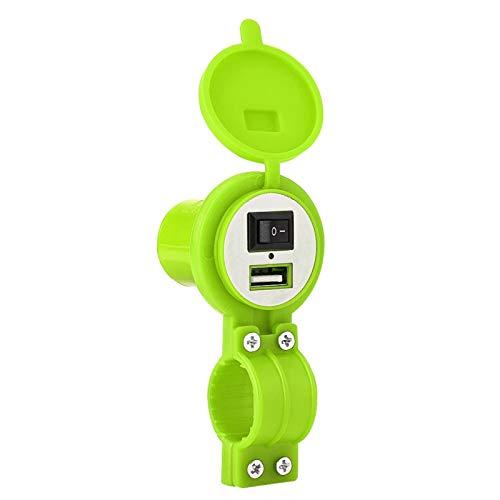 Cargador USB para motocicleta, Universal 12-24V Motocicleta USB Adaptador de cargador a prueba de agua Conector de fuente de alimentación, para teléfono celular, Cámaras digitales, MP3/MP4(Verde)