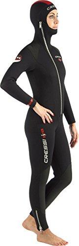 Cressi Damen Tauchanzug Diver 5 mm mit Angesetzter Haube, Schwarz/Red(5mm), M