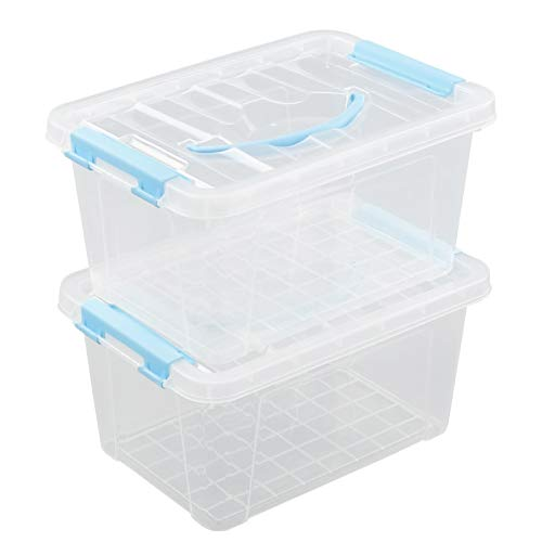 Farmoon 6 Quart Clear Storage Bin, Small Plastic Stackable Box/Cotainer with Lid and Blue Handle, 2 Packs