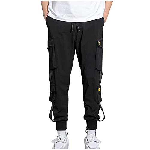 AOCRD Pantalones cargo largos de corte regular para hombre, de gran tamaño, para hacer deporte, senderismo, trekking, para el aire libre, tallas S-5XL, Negro , XXXXXL
