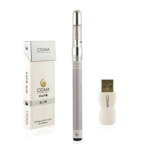 Cigma Vape Slim Weiß | Die Kleinste und Dünnste, Auflad- und Nachfüllbare E-Zigarette der Welt | E-Zigarette Starterset | E Shisha | Wiederaufladbare Batterie | Auffüllbar | Verdampfer