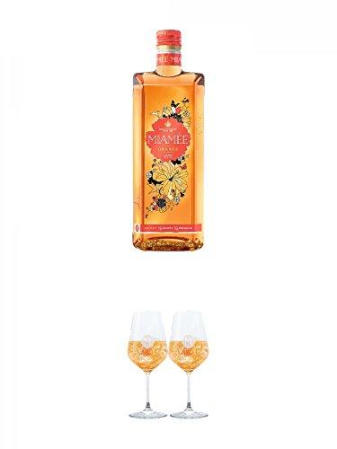 Miamee Orange Goldwasser Likör 0,7 Liter + Miamee Goldwasser Cocktail Gläser mit 5cl Eichstrich 2 Stück