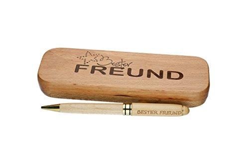 """Kugelschreiber mit Gravur\""""Bester Freund\"""" in Geschenk-Schachtel aus Holz die Geschenkidee Stift graviert"""
