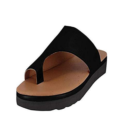 Vertvie Damen Sandalen Bequeme Plattform Pantoletten Zehentrenner Hausschuhe Sommer Strand Reise Schuhe Flach Flip Flops(36 EU, Schwarz)