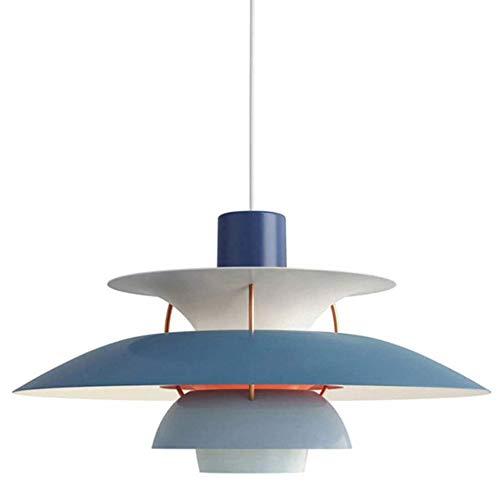 Colgante de luz interior moderna PH5 pantalla aluminio mesa candelabros simplicidad Altura ajustable la lámpara del techo oficina gradiente azul E27 para Sala Comedor Bar Café φ50CM