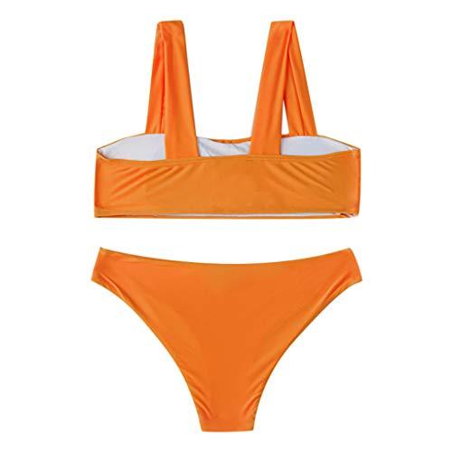 Macvise Women's Sexy Printing Wide Straps Padded Bandeau Bikini Set(Orange,Medium)