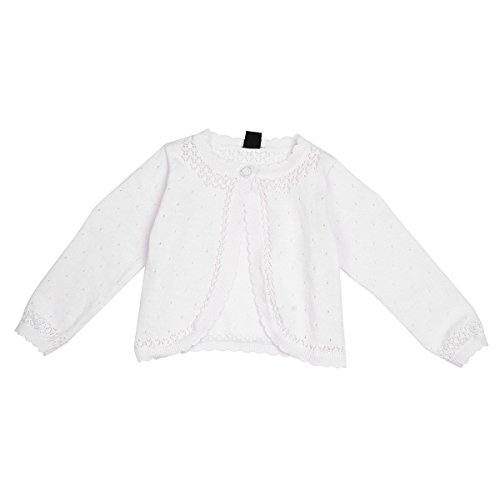 YiZYiF Baby Kinder Mädchen Bolero Strickjacke Pullover Knit Schulterjacke Jacke perfekt für Taufe Festlich Party Kleid 6-24 Monate Weiß (68-74, Weiß)