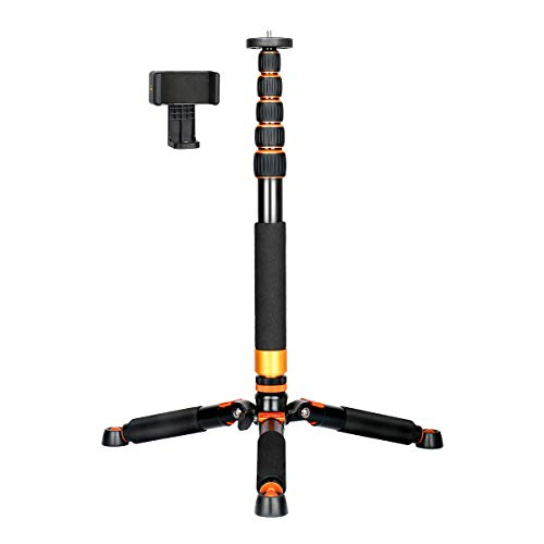 Koolehaoda Kamera-Einbeinstativ aus Aluminium mit Metall-Stativ, 6 Abschnitte, 46–177 cm, verstellbar, Beindurchmesser Φ28 mm, bis zu 6 kg.