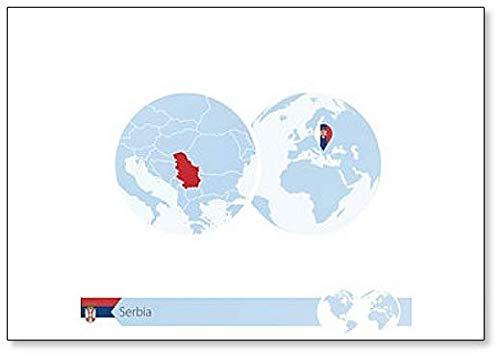 Kühlschrankmagnet, Motiv Serbia On World Globe mit Flagge & Landkarte