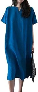 summer dresses for women النساء الكتان بوهيميا فساتين الخامس الرقبة خمر فضفاض القطن اللباس ميدي الصيف dresses women (Color...