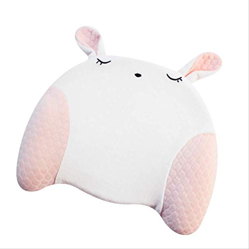 Almohada para niños, cabeza de bebé, almohada de espuma de memoria, algodón puro, cabeza anti-excéntrica rosa