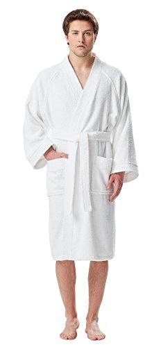 Arus Men's Short Kimono Bathrobe Turkish Cotton Terry Cloth Robe White L/XL