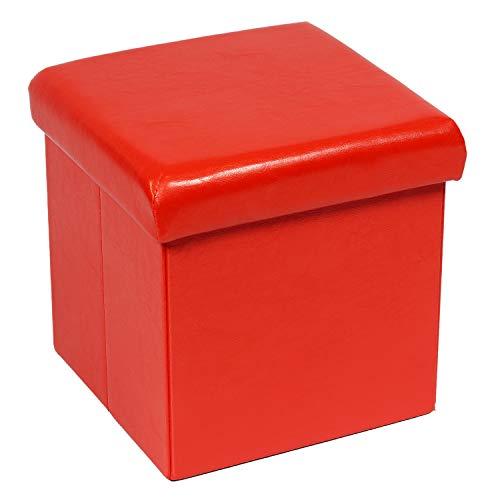 Bonlife Faltbox mit Deckel Sitztruhe Kinder Faltbare Truhe Truhe Aufbewahrung Spielzeugbox Sitzbox mit Deckel Orange 30x30x30cm