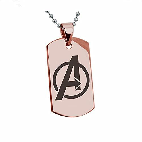 AvengersALogo Collar Colgante De Acero Inoxidable De Superhéroe Etiqueta De Acero De Titanio Para Hombres Etiqueta De Perro Del Ejército Oro Rosa