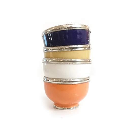 Juego de 4 cuencos marroquíes de colores de cerámica marro