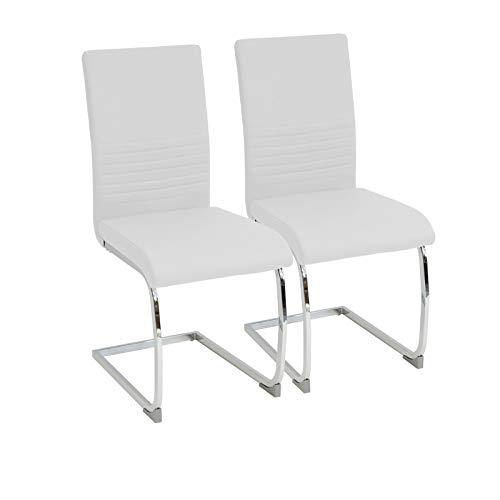 Albatros Silla Cantilever BURANO Set de 2 sillas Blanco, SGS Probado