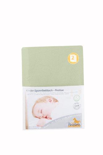 Pinolino Drap-Housse pour Lit de Bébé Tissu Eponge - Pack de 2 - Lemon