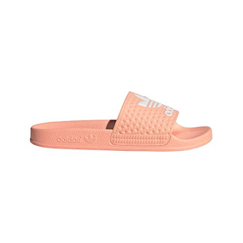 adidas Originals Kids' Adilette Sneaker, Glow Pink/White/Glow Pink, 5 M US Big Kid
