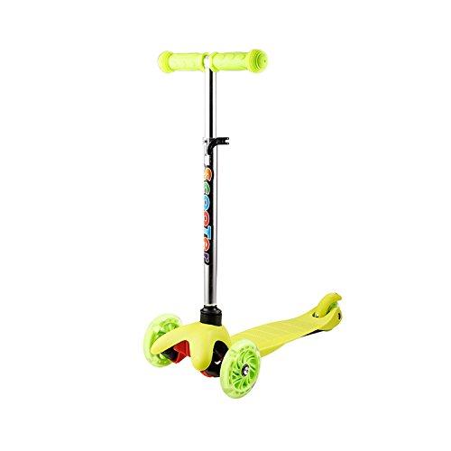 ANCHEER Kinder-Scooter aus Aluminium mit 3 Rädern, abnehmbarer Scooter für Kinder ab 2 Jahren, höhenverstellbar 54-69 cm/57-69 cm (grün)