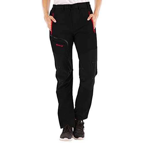 SANMIO Pantalones al Aire Libre para Mujer Pantalón da Senderismo y Trekking Alpinismo Ligero Secado Softshell Transpirable Forro Polar Aire Libre Pantalones de Mantener Caliente