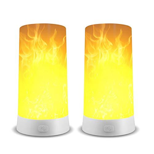 Bombillas LED Efecto Llama,USB recargable y base magnética,4 Modos de Iluminación,Bombillas de llama para Casa/Bar/Cámping/Festival Decoración 2 Pieza