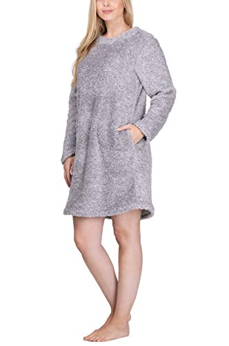 maluuna - Damen Fleece-Kleid, Kuschelkleid, Fleece-Pullover, Loungekleid, Nachthemd, Homewear-Kleid, Fleecekleid, Longshirt, Oversize Shirt, Oversized Pullover, Größe:L, Farbe:Offwhite/braun