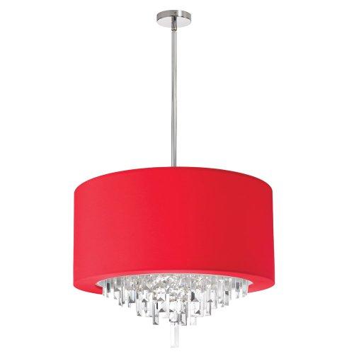 """Dainolite Lighting JAS-196C-PC-927 6-Light Crystal Chandelier with Red Lycra Drum Shader, 25"""" x 19"""" x 15"""""""